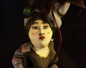 "OOAK ""Ms. Bombastic Bustle"" Ceramic Sculpture Dancer High Society Lady Doll"