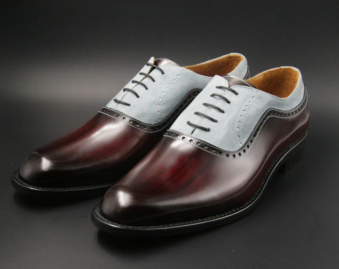 Leather man patina shoes, red wood and grey suede, Oxford, hand painted (made in Italy)