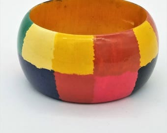 """Vintage Hand Painted Wood Bangle With A Rainbow of Colors - 2.5"""" Wide"""