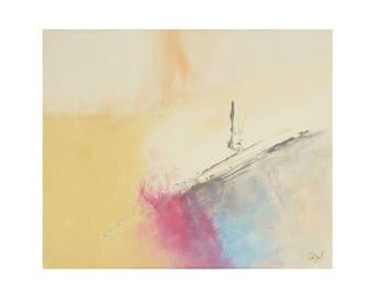 Tableau bleu turquoise jaune blanc lumineux contemporain toile - Peinture jaune pale ...