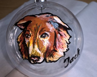 Miniature Pet Portrait on clear shatterproof bauble.