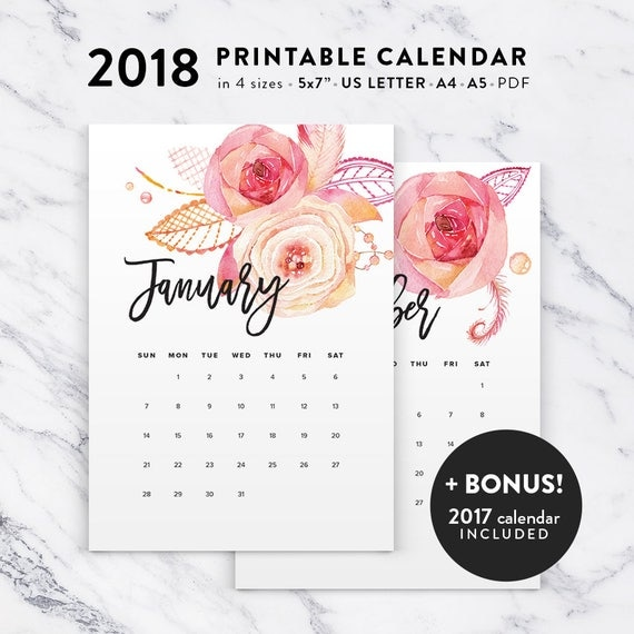Printable Calendar 2018 Floral Watercolor Calendar Printable