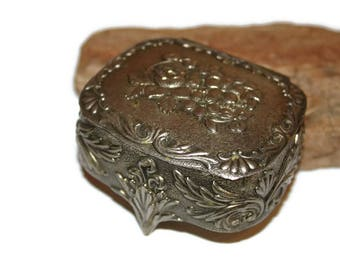 Ornate Metal Box with Red Velvet Lining, Small Metal Box, Vanity Box, Jewelry Box, Ring Box, Trinket Box, Decorative Box, Gift for Her