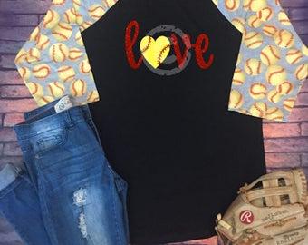 Ladies Softball Mom Love Heart Black Raglan Shirt **CHOOSE DESIGN