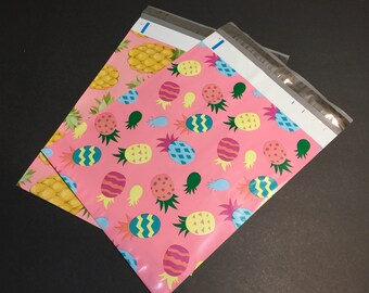 200  10x13 PINEAPPLE and Easter PINEAPPLE Designer Poly Mailers 100 each Envelopes Shipping Bags Spring