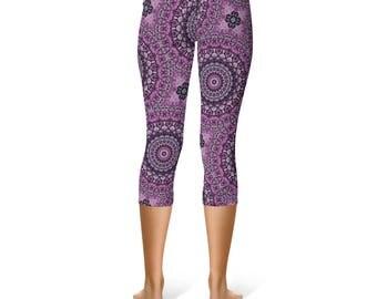 Capris - Mandala Leggings, Purple and Gray Yoga Pants, Printed Leggings, Flower Pattern Yoga Tights, Art Leggings