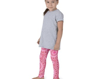 Kids Leggings, Cute Pink Leggings for Girls, Children's Yoga Pants