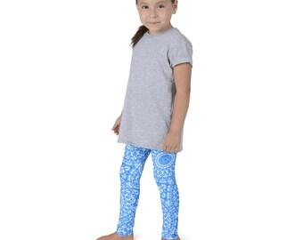 Leggings Kids, Yoga Pants for Girls, Azure Blue and White Pattern Leggings for Children