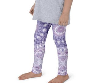 Kids Leggings, Cute Lavender Leggings for Girls, Children's Purple Printed Yoga Pants, Mandala Design