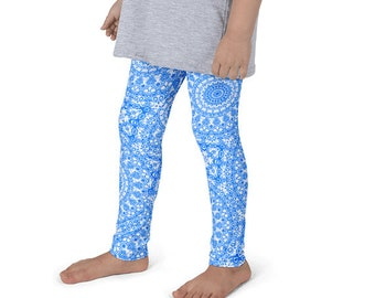 Leggings Kids, Yoga Pants for Girls, Azure Blue and White Pattern Leggings for Children