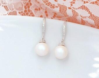 Bridal Earring Manoha, Swarovski Pearl Drop Bridal Earrings Bridal Jewelry Pearl And Cubic Zirconia Bridal Earrings Bridesmaid Gift