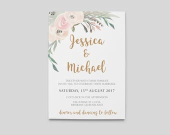 Printable Wedding Invitation | Floral Wedding | Wedding Invitations | Printable Invitations | Rustic Wedding Invite | Sophie Suite
