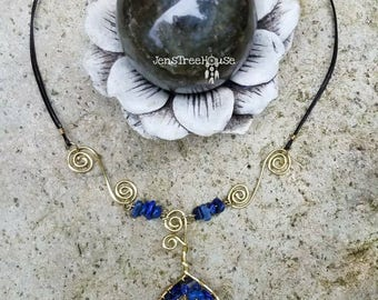 Lapis Lazuli Tree of Life Pendant Necklace/Handmade Jewelry