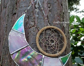 Stained Glass Crescent Moon Dream Catcher Suncatcher/Window Hanging/Wall Hanging