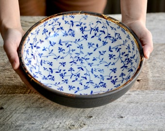 Handmade large pottery shallow bowl or serving plate blue filigree flowers