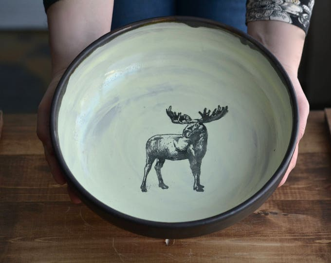 Large shallow rustic moose handmade pottery bowl