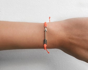 Arrow Bracelet / Silver Arrow / Coral / Waterproof Bracelet / Friendship Bracelet / Adjustable Bracelet / Surf Bracelet / Valentines gift
