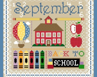 September Monthly Sampler Cross Stitch Chart PDF