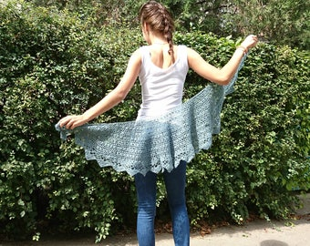 mohair lace scarf wrap shawl blue grey shawl hand knitted lace shawl narrow warm wrap blue jeans shawl gift for Mother's Day ready to ship