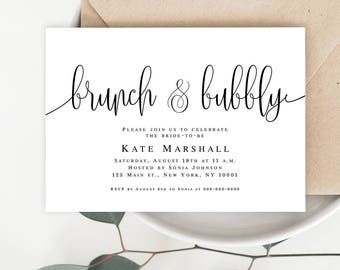 Brunch and bubbly bridal shower Invitation template Editable bridal shower invitation Brunch and bubbly template Brunch and bubbly theme
