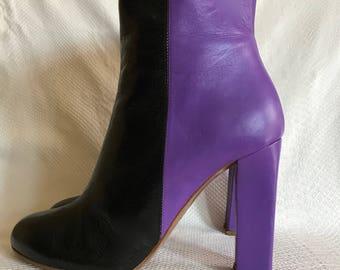 Missoni high heeled ankle boots booties, black purple color block design EU Sz 41 US Sz 11 80's 90's