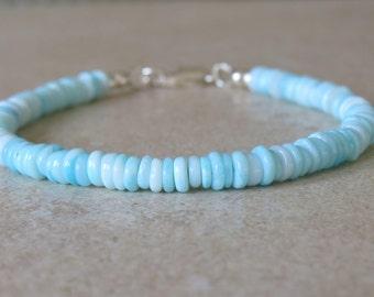 Blue Opal Tyre Heishi Bracelet