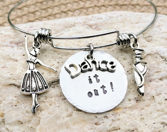 Dance gifts, Dance jewelry, Dance bracelet, Gift for dancers, Gift dance teacher, Gift dance team, Team dance gifts, Silver charm bracelet