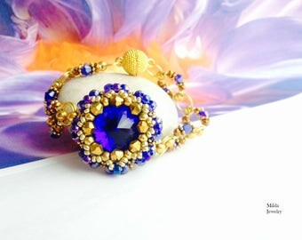 Bead bracelet, seed beaded handmade bracelet for her, women's bracelet bleu, gold, copper, stackable stretch bracelet, gift for her