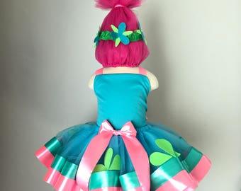 Troll costume, pink troll costume, poppy troll inspired tutu, blue troll dress