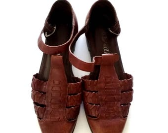 Closed-Toe Huarache Sandal / The Leather Collection / Leather Summer Sandals / Size 7-7.5 / Strappy Summer Sandals / Leather Shoes / Woven