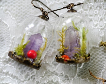 Crystal point earrings, Terrarium jewelry, Amethyst earrings, Real moss, fairy garden, boho jewelry, magical earrings, gifts for her