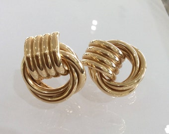 Antique Gold Doorknocker Earrings Large and Small Twisted Loop