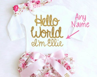 Floral Baby Girl Coming Home Outfit, HELLO WORLD Outfit Girl Going Home Outfit, Personalized Newborn Outfit Summer Baby Outfits k2