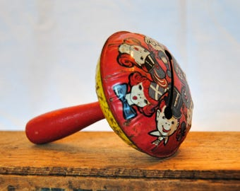 Vintage Metal and Wood Noisemaker - Red and Yellow