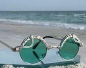 Eclectic FOREST Green Unisex Round ~ SPUNGLASSES ~ Arisan Silver Mens Womens Festival Retro Sunglasses Sunnies Eyeglasses Eyewear