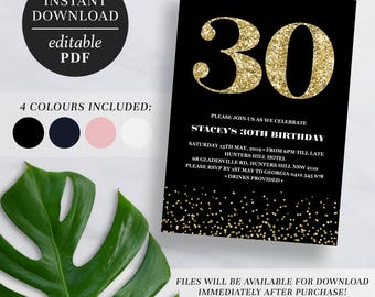 Printable 30th Birthday Invitation Gold Glitter | Editable Template | Glitter | 30 | Thirty | 30th Birthday Invite | Navy | Pink | Black