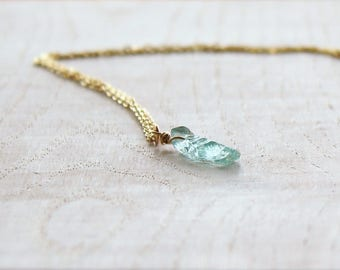 Aquamarine Necklace, Rough Aquamarine, Raw Aquamarine Pendant, Aquamarine Jewelry, Raw Crystal Necklace, March Birthstone, Gift for Her
