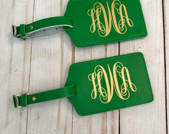 Monogrammed luggage tag set of two,  Personalized luggage tags, Luggage tag sets, monogrammed luggage tag