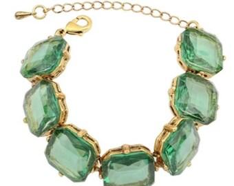Antique Green Crystal Bracelet