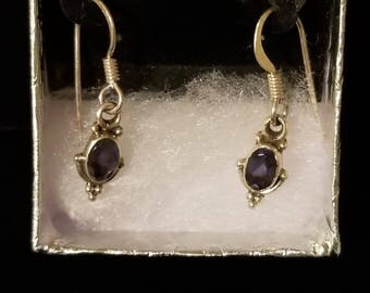 E039 Vintage Sterling Silver Dangle Earrings with Tanzanite