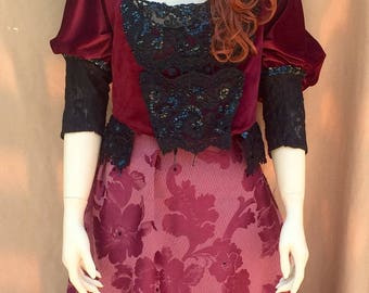 Victorian Ballgown red and black costume halloween theater handmade
