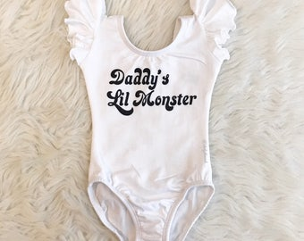 DADDY'S LIL MONSTER Harley Quinn inspired Leotard Only - baby kids - Flutter / short / long sleeve / sleeveless / Batman Joker Suicide Squad