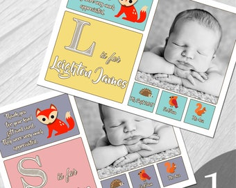 Personalised New Baby Photo Thank You Cards Boy Girl Birth Announcement Printed on 350gsm card NB1