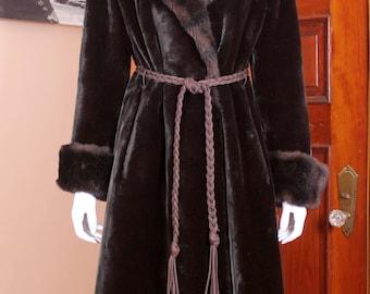 Vintage Borgazia Black Sheared Faux Sheared Beaver and Mink Long Coat