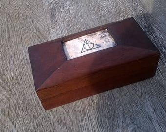 Harry Potter Deathly Hallows and Gringott's Bank Wooden Valuables Box