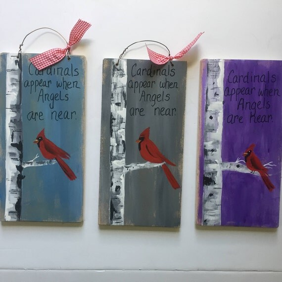Cardinals appear when angels are near, Personalized sympathy gift, Loss of loved one, wood painting, Cardinal painting, religious decor