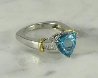 Apatite/Diamond/14K White Gold Ring ( size 7 )