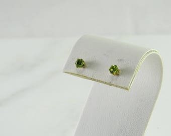 Petite Green Stone Pierced Earrings