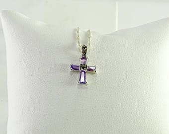 "Petite Violet Stone Cross Pendant on a 18"" Chain All Sterling Silver"