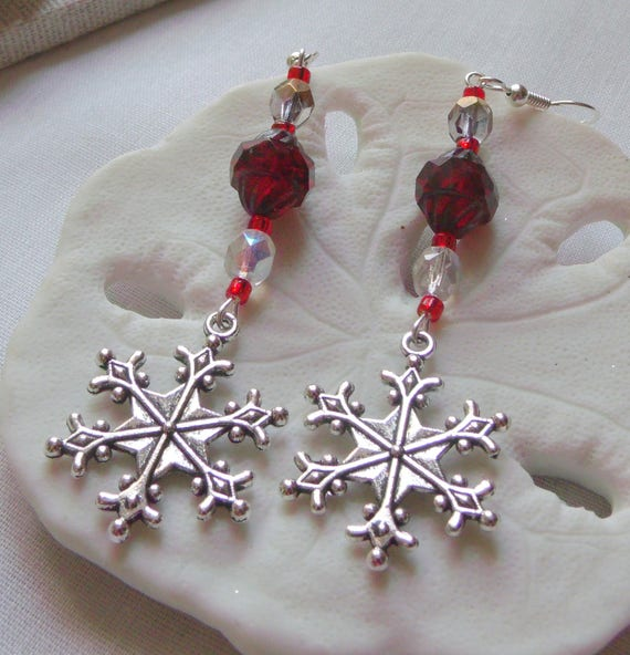 Silver snowflake crystal earrings - berry red green  - silver glitz blue glass - oval red christmas gift  - holiday jewelry - Lizporiginals